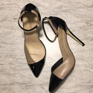 SHOEDAZZLE size US10 pointy toe heel, tan & black